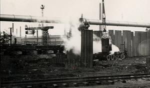 Battage de palplanches au début du siècle